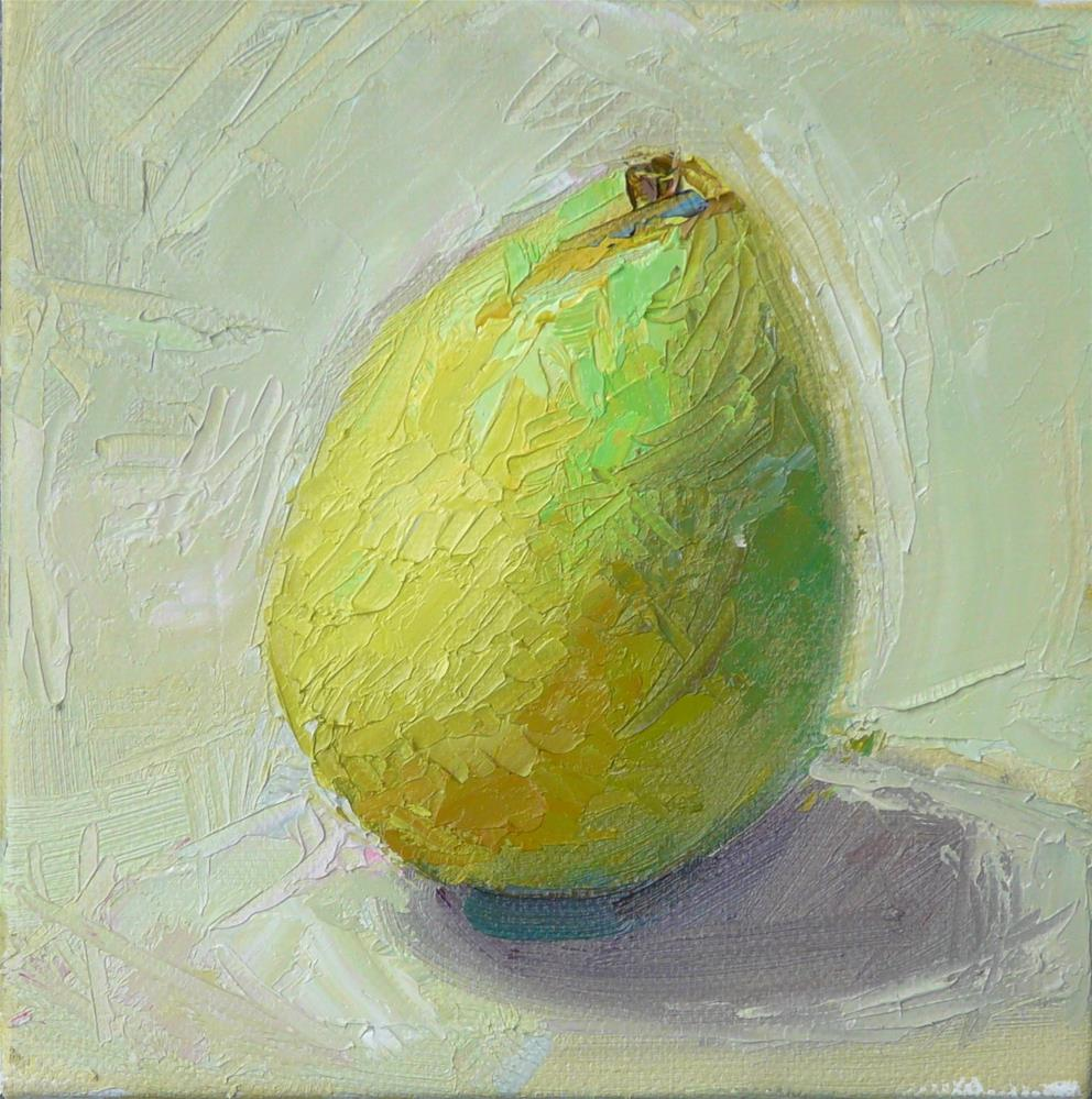 """Pear,still life,oil on canvas,6x6,price$200"" original fine art by Joy Olney"