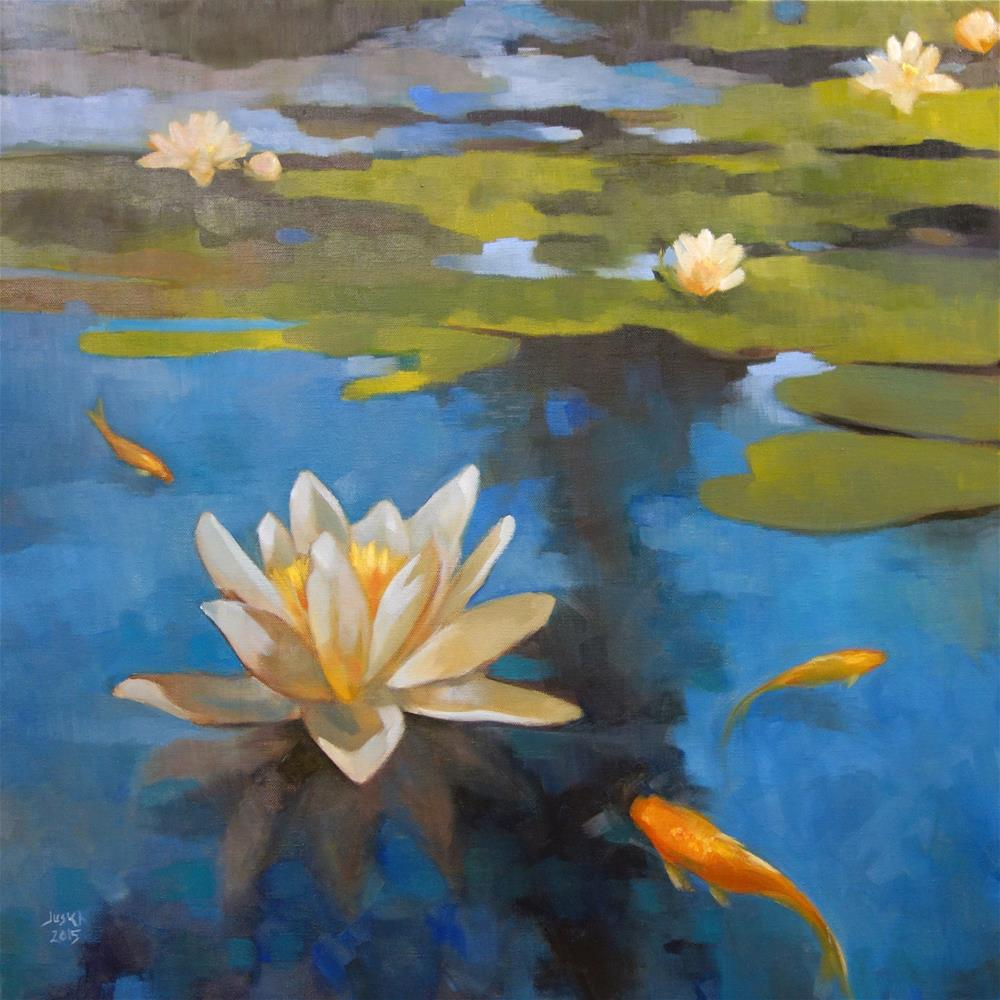 """Pond Lilies and Goldfish"" original fine art by Elaine Juska Joseph"