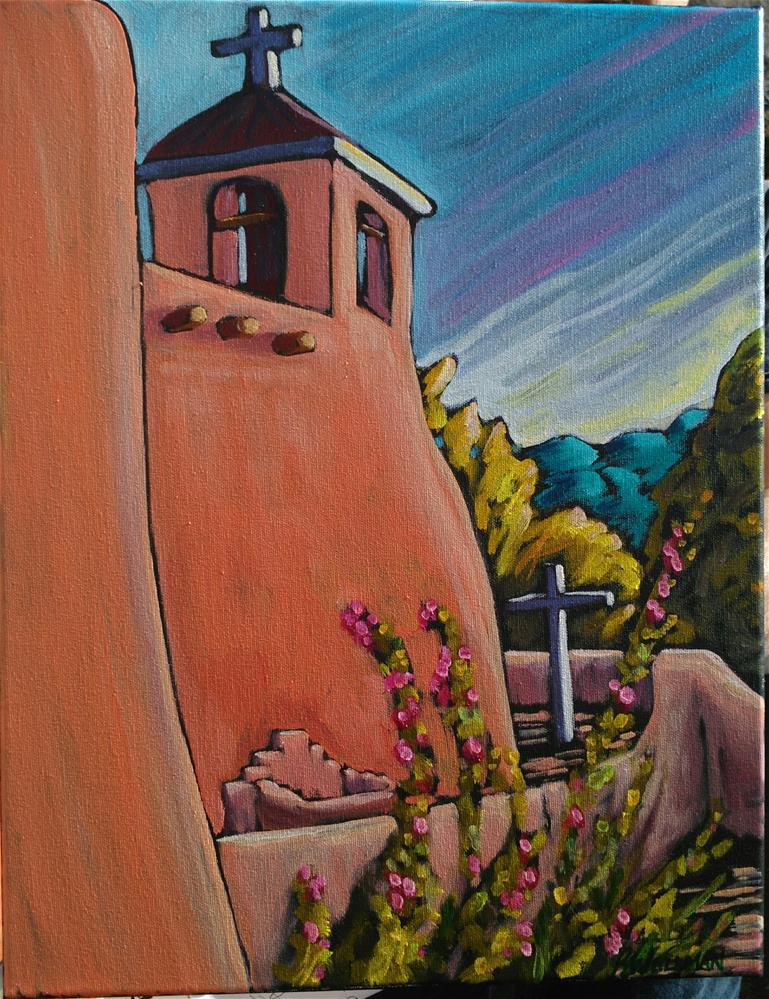 """Saint Francis and hollyhocks in summer"" original fine art by Robyn Wellman"