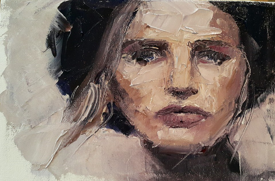 """Palette knife portrait 2"" original fine art by Rentia Coetzee"