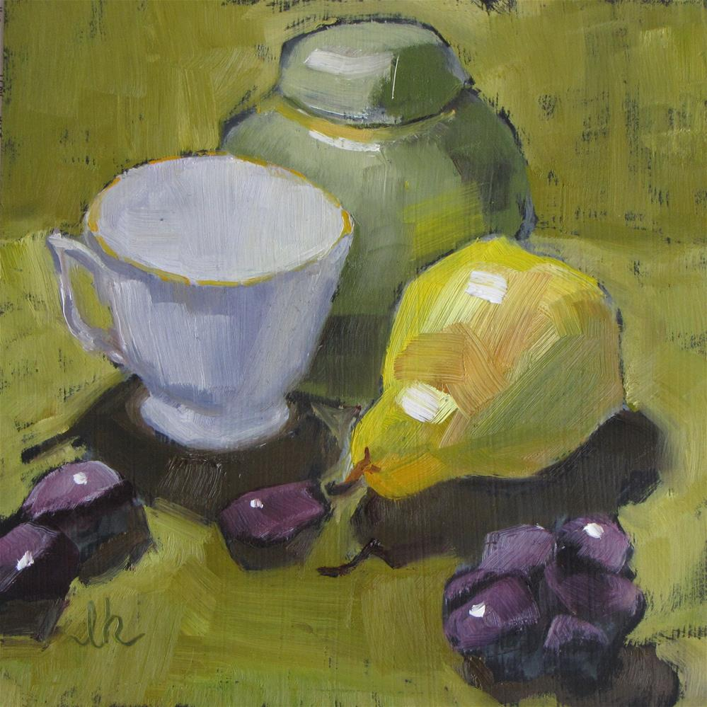 """Ginger Tea and Pear"" original fine art by Louise Kubista"