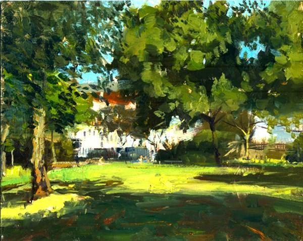 """Summerlight, Westfield Park (23) Chelsea Marathon"" original fine art by Adebanji Alade"