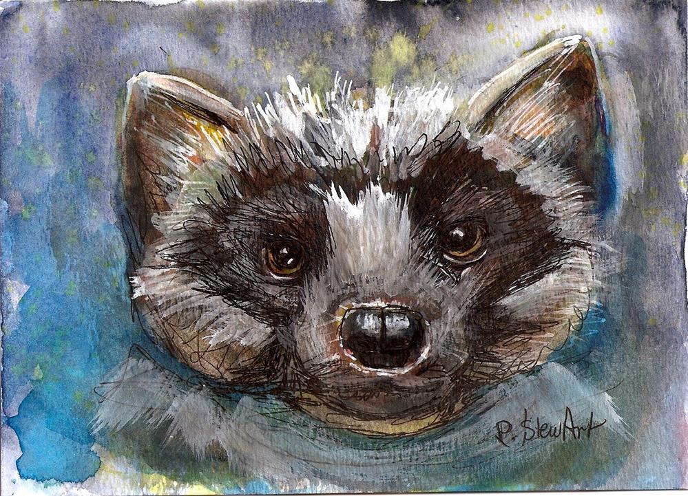 """5x7 Pine Marten Animal Painting Watercolor, Pen and Ink by Penny Lee StewArt"" original fine art by Penny Lee StewArt"