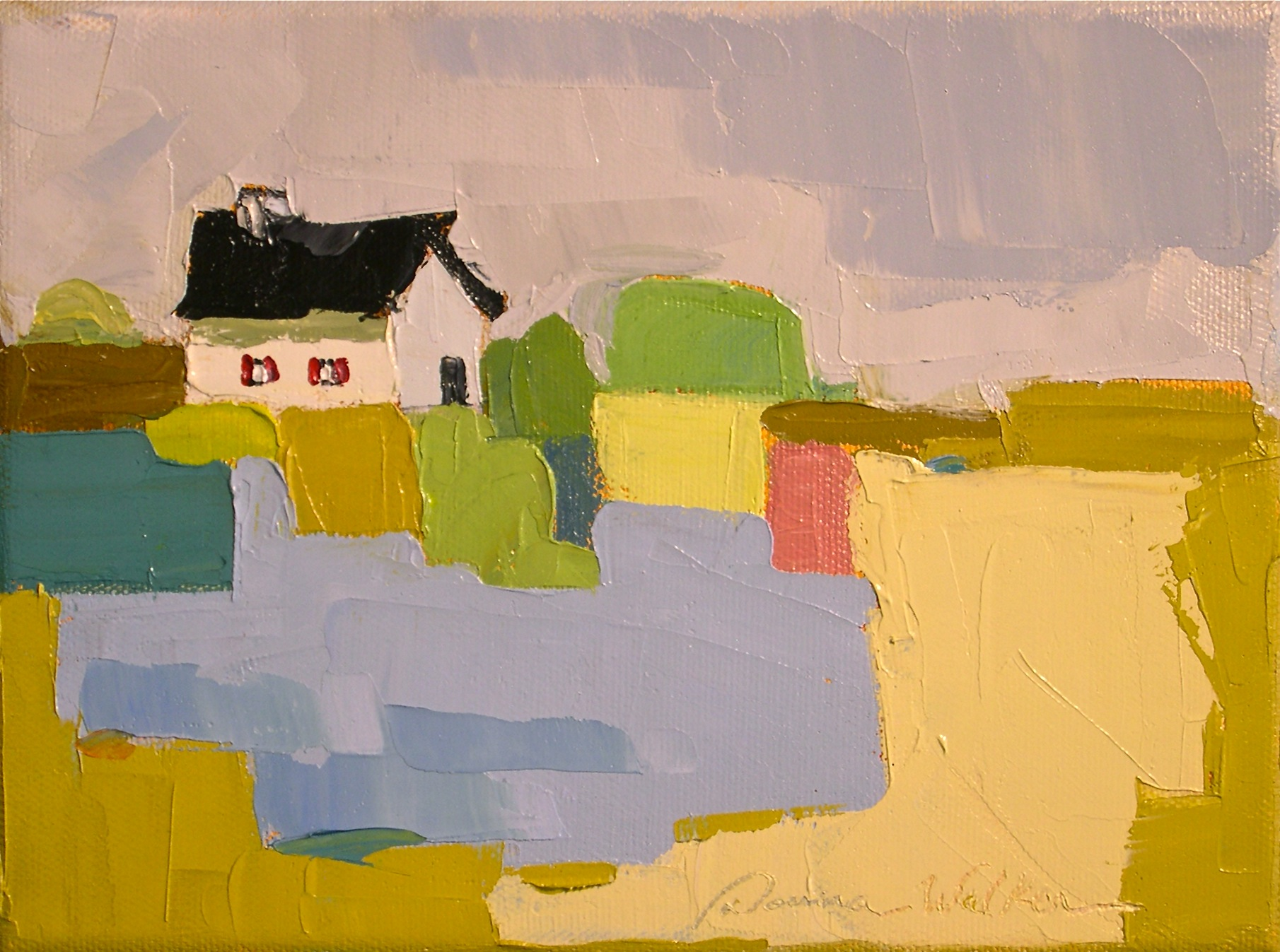 """Patchwork Farm in Ochre II"" original fine art by Donna Walker"
