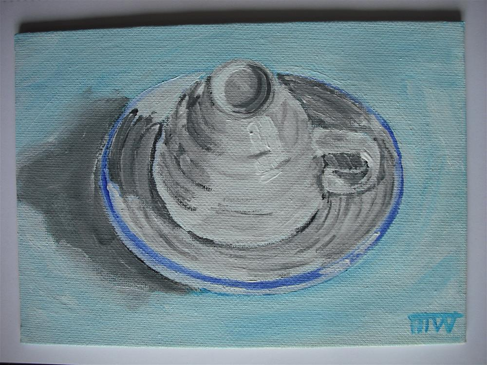 """Secretive Cup and Saucer"" original fine art by Heather Whiting"