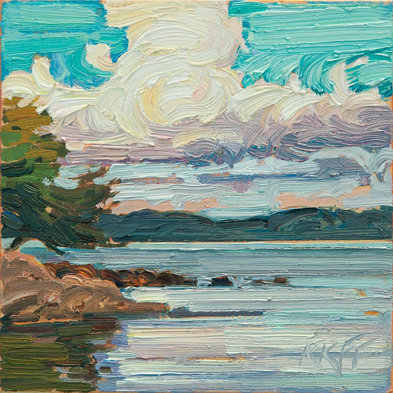 """Arbutus Cove 6x6 oil on panel"" original fine art by Ken Faulks"