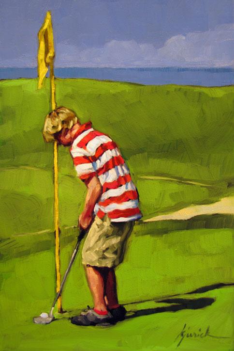 """Short Putt"" original fine art by Karin Jurick"