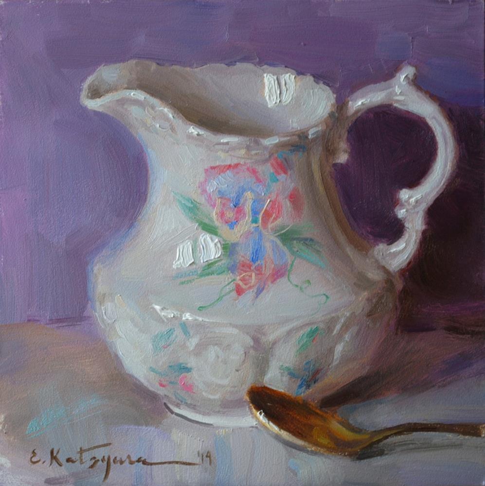 """Flowered Jug"" original fine art by Elena Katsyura"