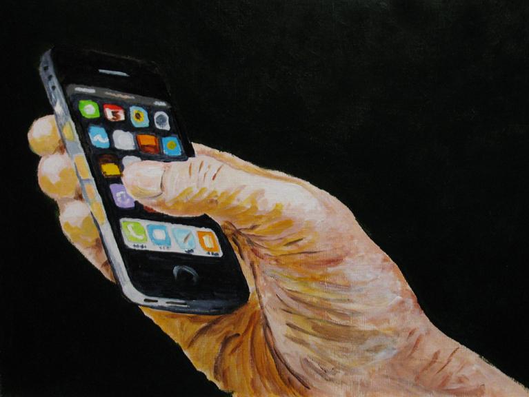 """Handy iPhone"" original fine art by Nan Johnson"