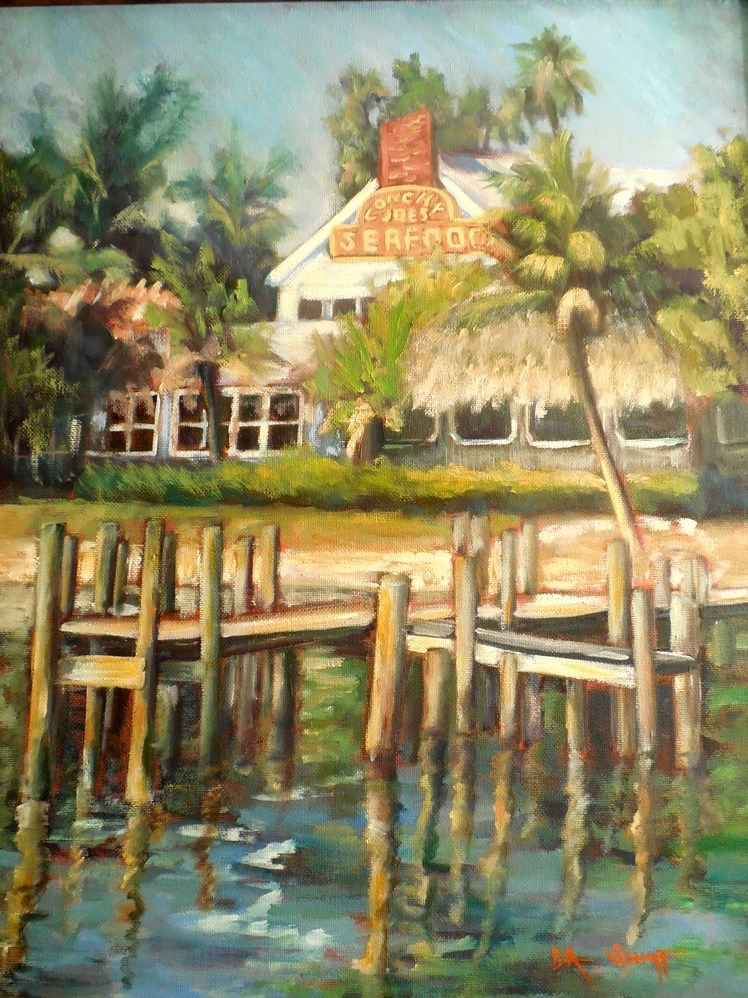 """Tropical Landscape Painting,  Daily Painting, Florida Painting, Conchy Joe's by Carol Schiff, 16x2"" original fine art by Carol Schiff"