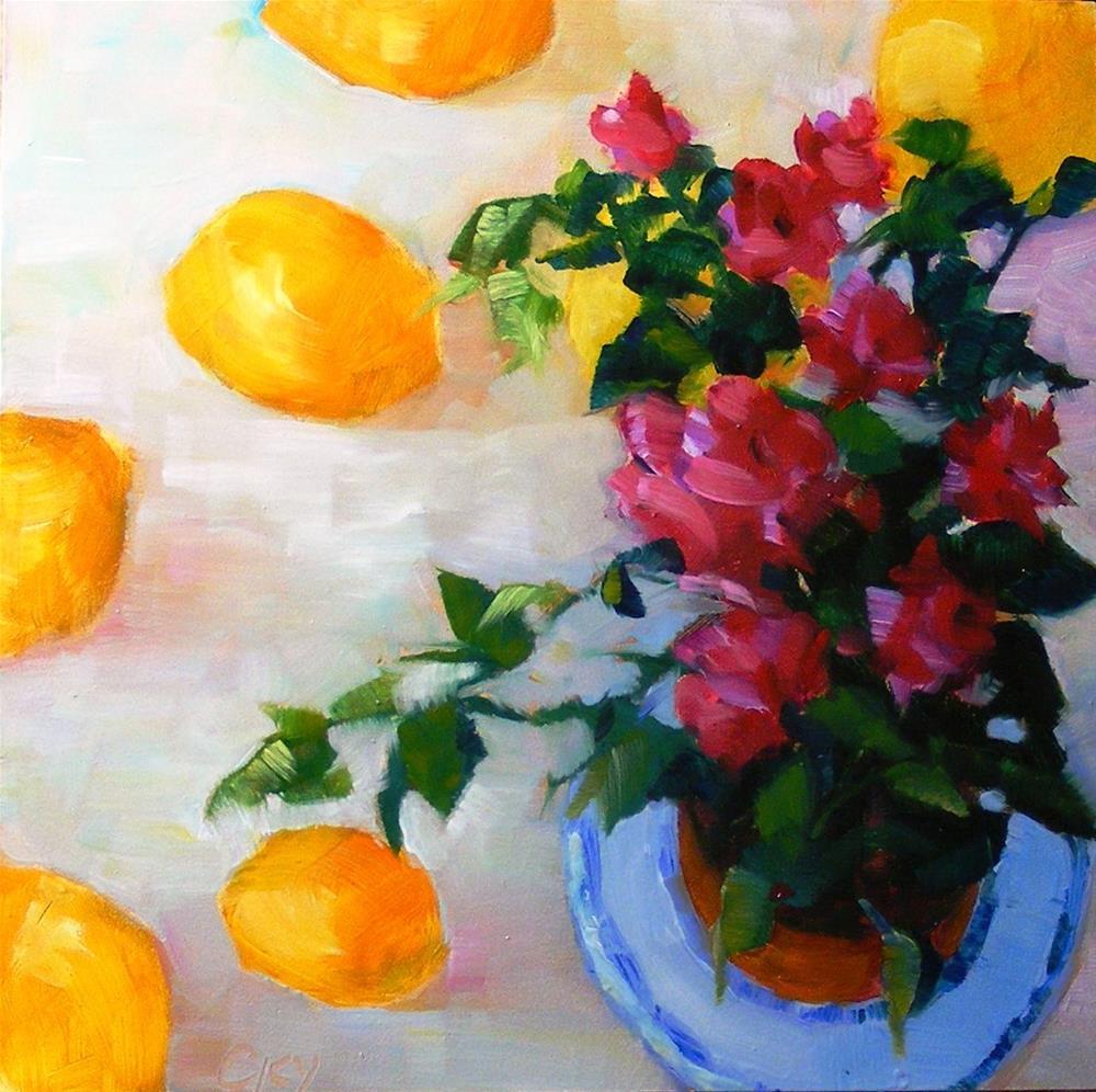 """Rose pot"" original fine art by Celine K.  Yong"