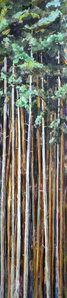 """PINE FOREST ORIGINAL MIXED MEDIA PAINTING OF PINE TREES © SAUNDRA LANE GALLOWAY"" original fine art by Saundra Lane Galloway"