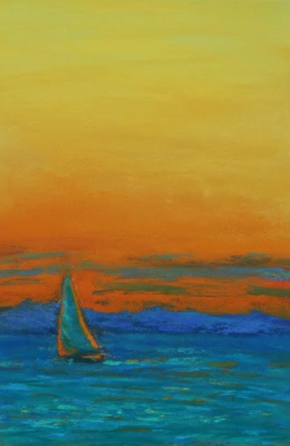 """Sailing at Sunset"" original fine art by Sharon Lewis"