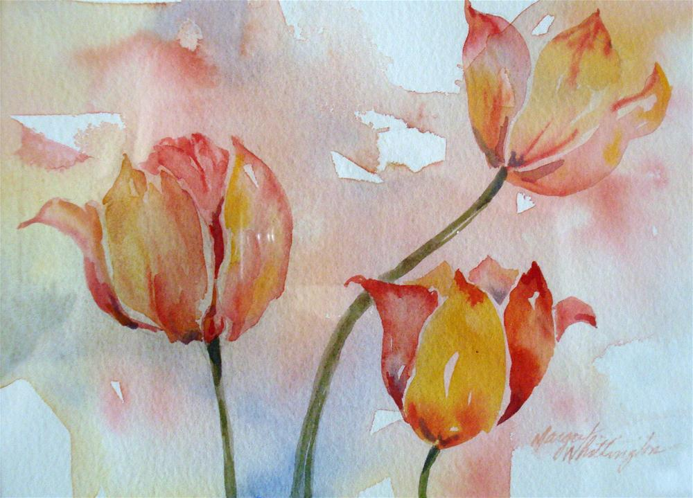 """Three Tulips"" original fine art by Margie Whittington"