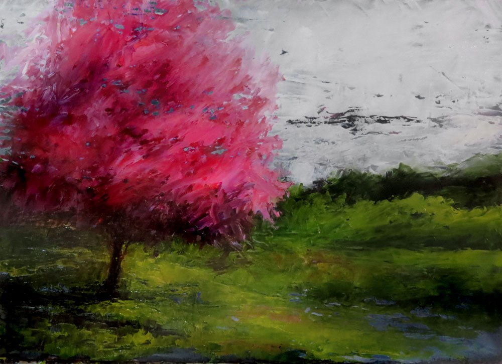 """Red-bud Tree After the Rain"" original fine art by Bob Kimball"