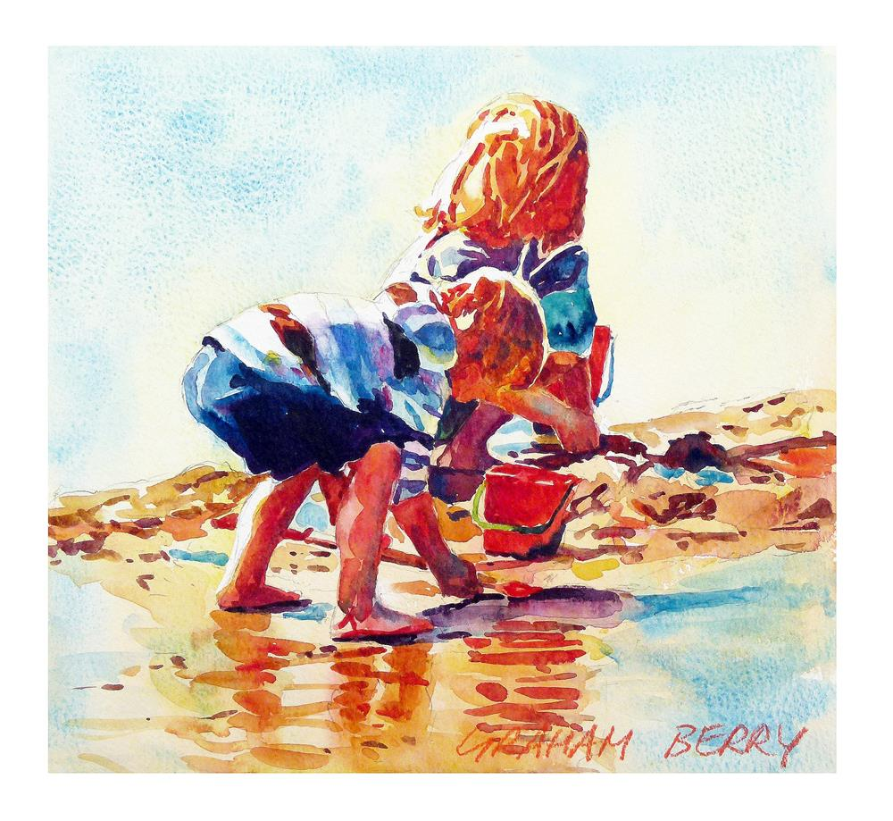 """Beach kids"" original fine art by Graham Berry"