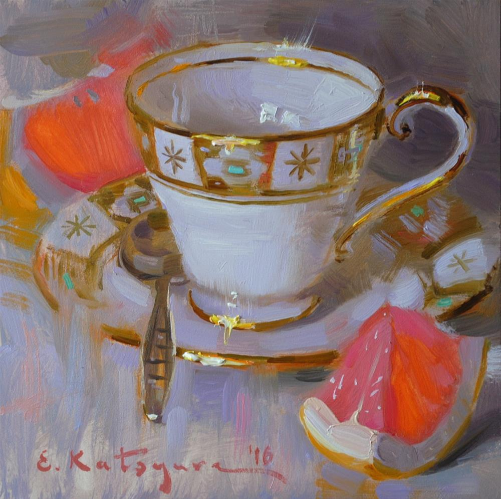 """Teacup and Grapefruit"" original fine art by Elena Katsyura"