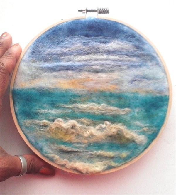 """Needle Felted Ocean"" original fine art by Camille Morgan"