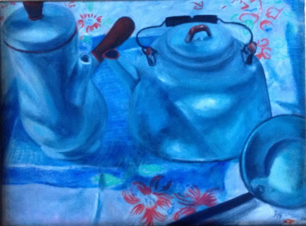 """White Enamelware with Tablecloth"" original fine art by barbara yongue"