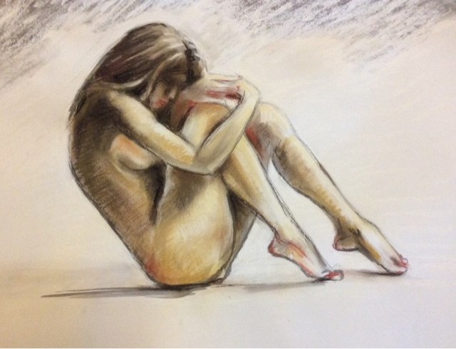 """""""Study of female nude in India ink and Pastel"""" original fine art by Hilary J. England"""