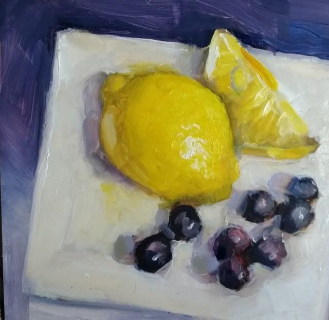 """Lemons and blueberries!"" original fine art by Wendy Starita"