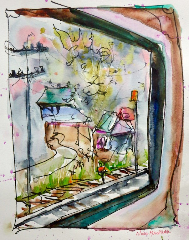 """train ride on a rainy day"" original fine art by Nora MacPhail"
