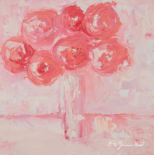 """Pink cottage chic roses oil painting No 128"" original fine art by Katie Jeanne Wood"