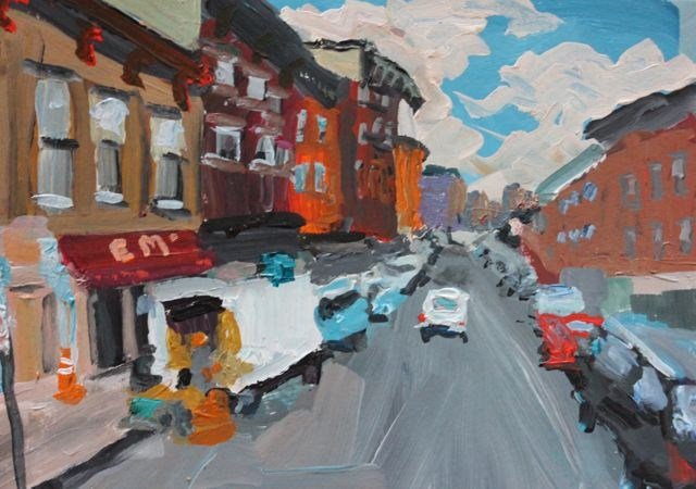 """Brooklyn's Smith Street, Non dominant challenge for DPW"" original fine art by Christine Parker"