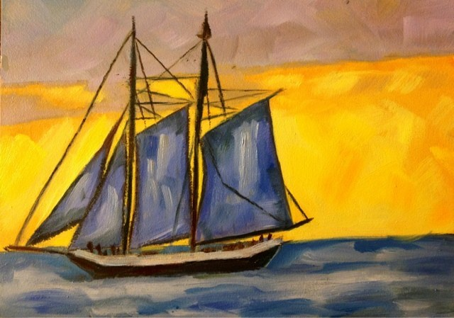 """Sailboat"" original fine art by Piya Samant"