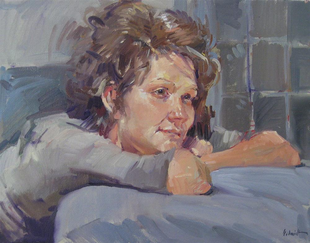 """Daydreamer original fine art portrait painting woman girl"" original fine art by Sarah Sedwick"