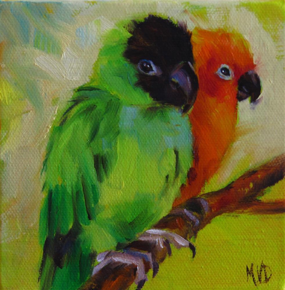 """""""Summer Lovebirds"""" original fine art by Mary  Van Deman"""