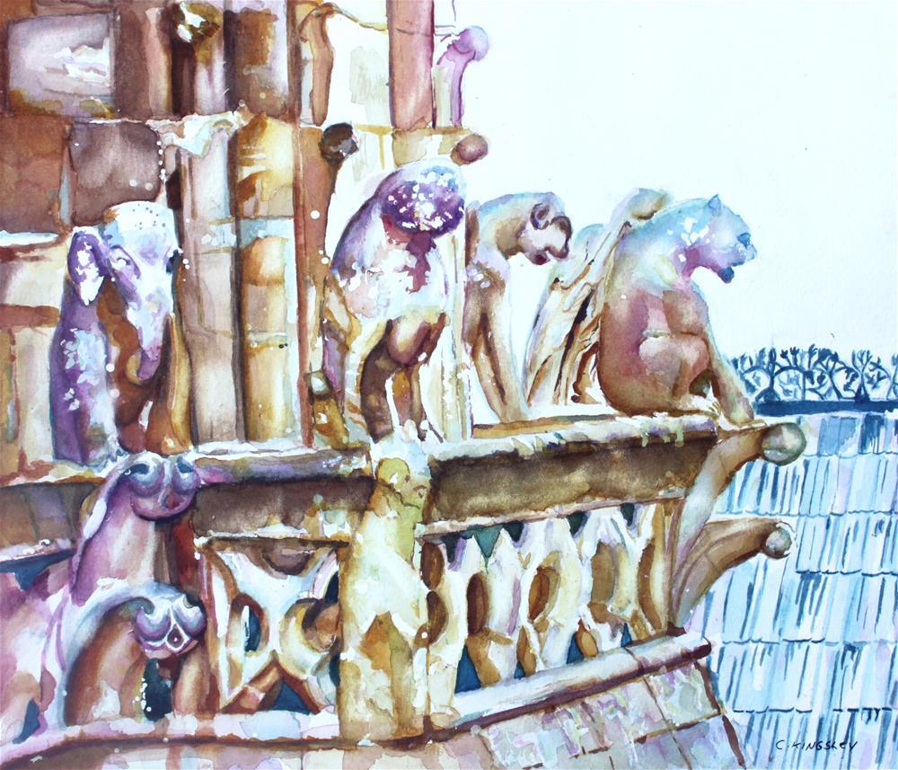 """Notre-Dame Sentinels"" original fine art by Christiane Kingsley"