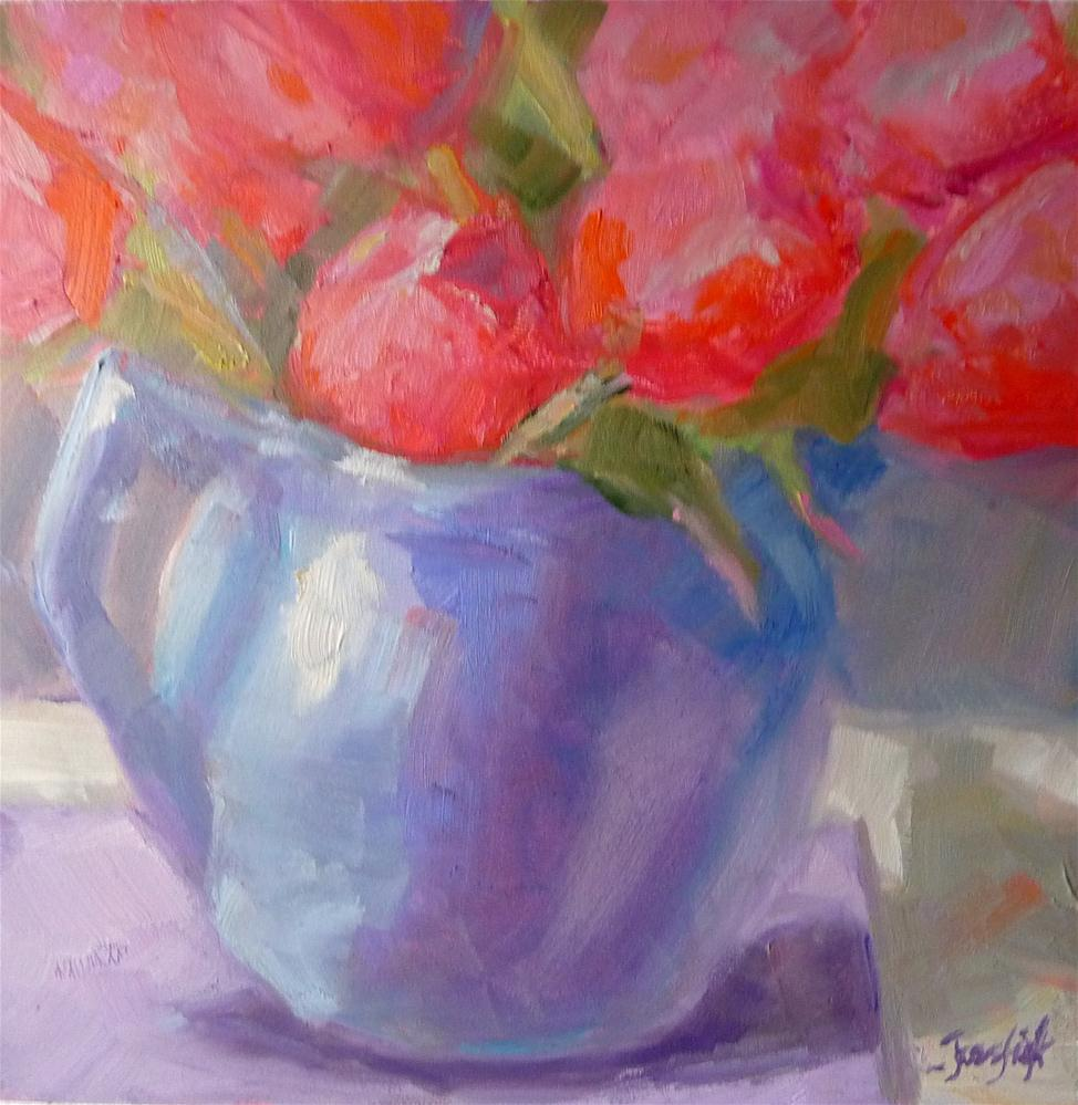 """Pink Tulips in a blue vase"" original fine art by Carol Josefiak"