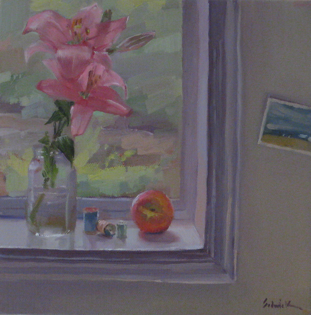 """Peach and Pink Lily on the Windowsill"" original fine art by Sarah Sedwick"