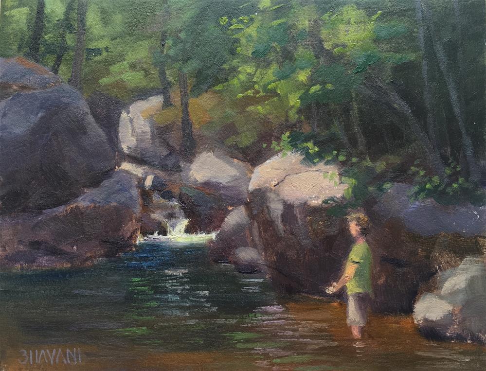 """The fisherman"" original fine art by Bhavani Krishnan"