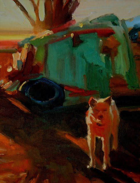 """Res Dog  paintings from the Ned Mueller workshop"" original fine art by Robin Weiss"