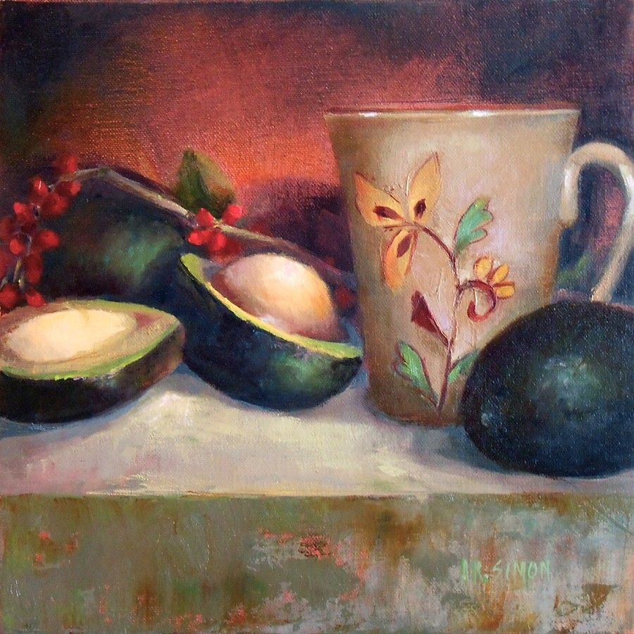 """Cup O' Joe and Avocado"" original fine art by A.K. Simon"