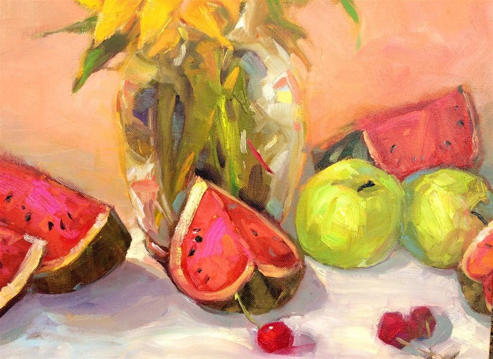 """Watermelon and apples"" original fine art by Krista Eaton"