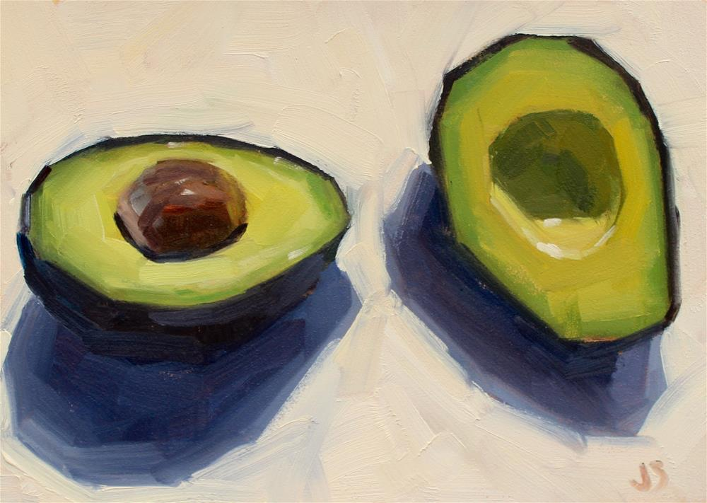 """Avocado in the Sun"" original fine art by Jamie Stevens"