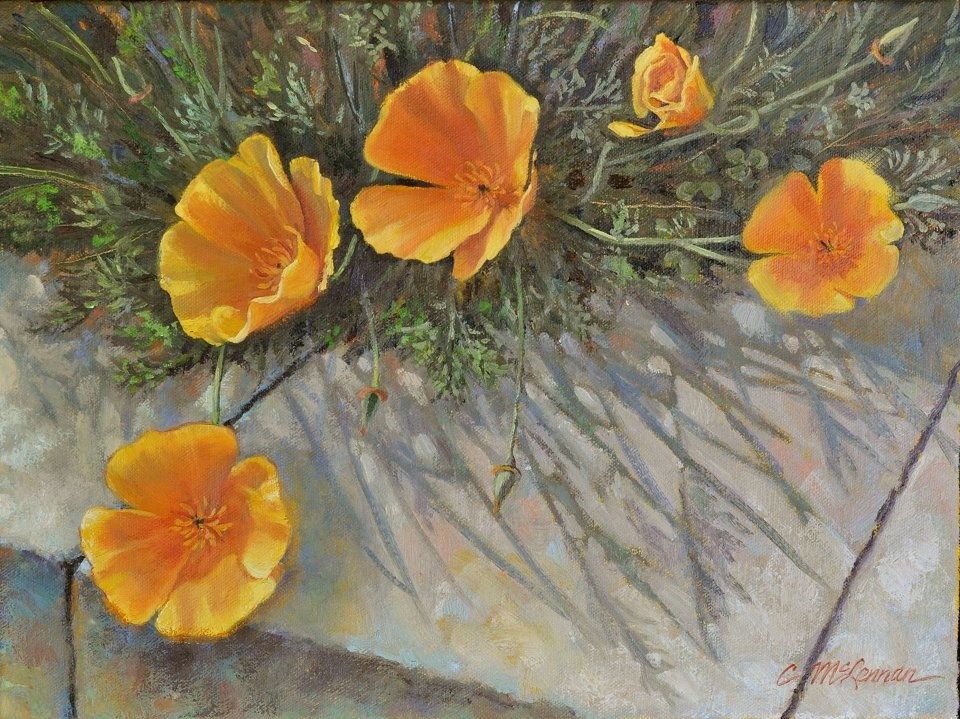 """Poppy Shadows"" original fine art by Connie McLennan"