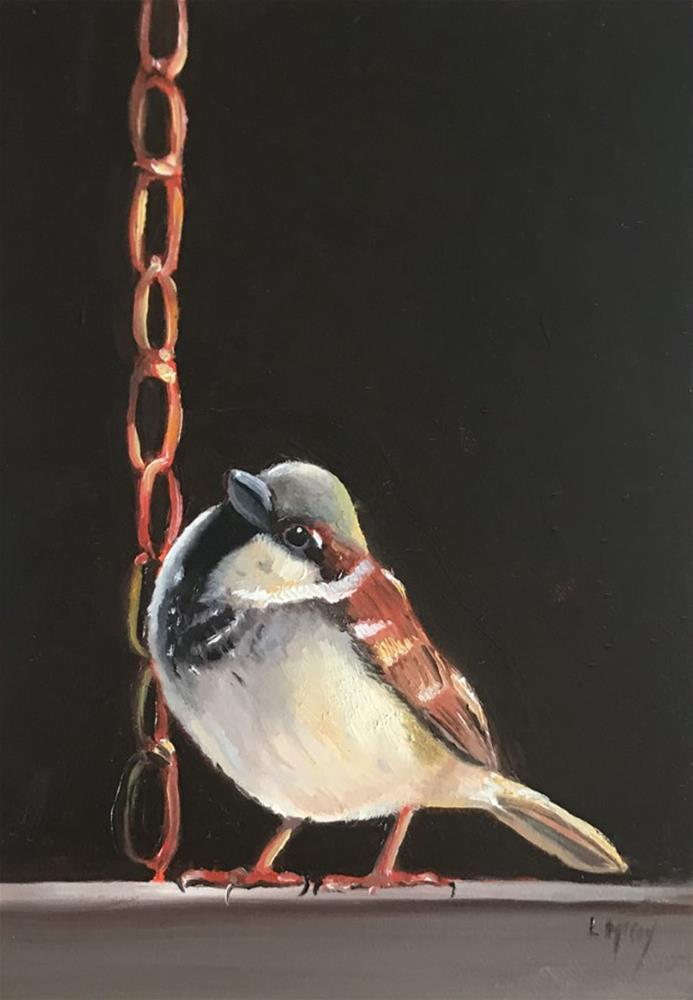"""Yes You Can! Sparrow Bird Oil Painting"" original fine art by Linda McCoy"