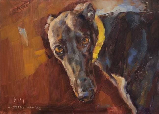 """""""Day 28 - Greyhound"""" original fine art by Kathleen Coy"""