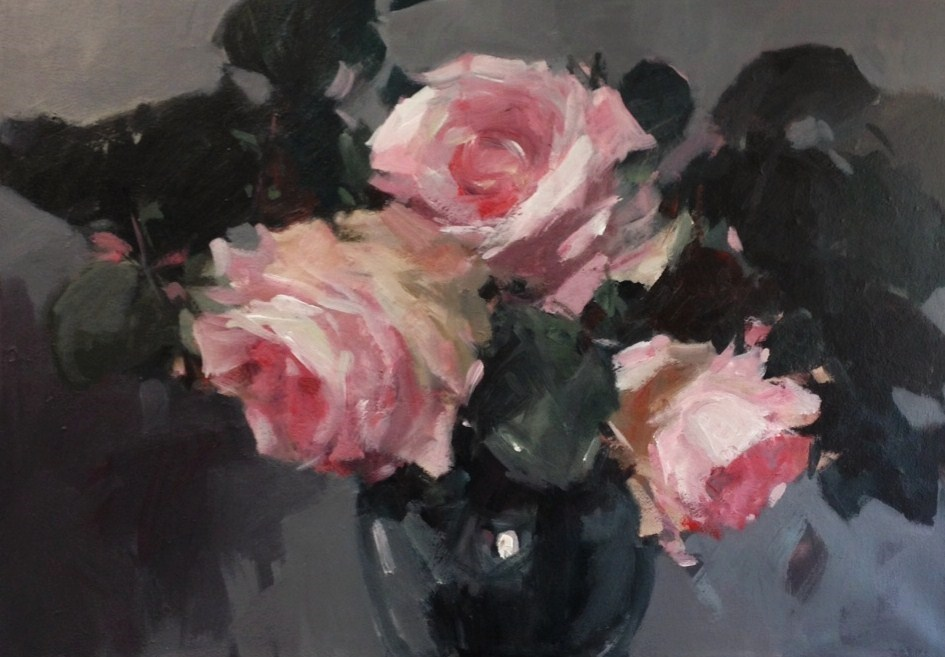 """Pink roses in a vase"" original fine art by Parastoo Ganjei"