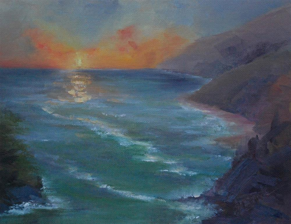 """Big Sur Sunset, 8 x 10 oil, seascape"" original fine art by Donna Pierce-Clark"