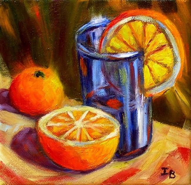 """Blue Glass and Orange 2"" original fine art by Irina Beskina"