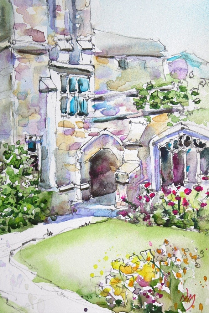 """courtyard corner"" original fine art by Nora MacPhail"
