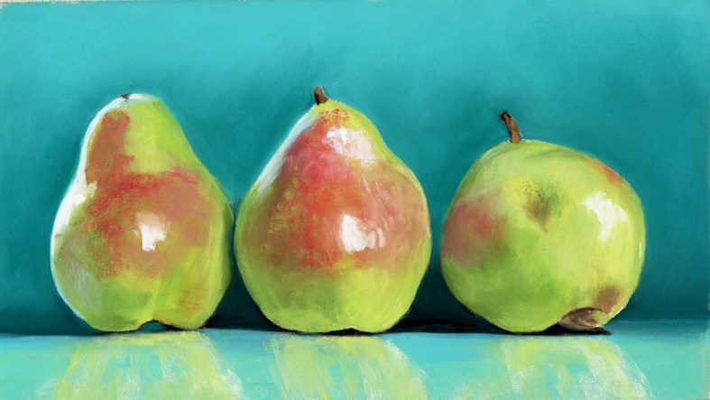 """pear blush painting"" original fine art by Ria Hills"