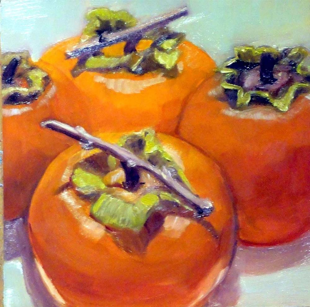 """Four Persimmons"" original fine art by Cietha Wilson"