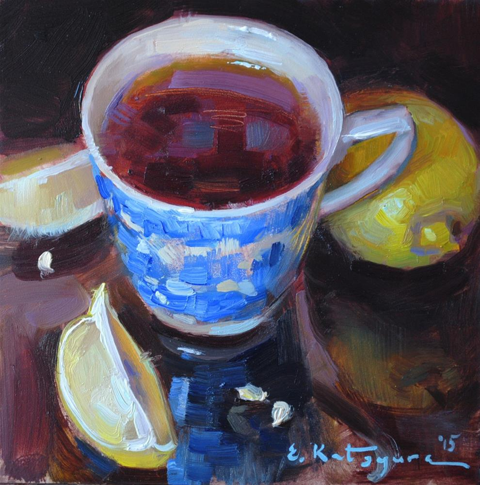 """Tea and Lemons"" original fine art by Elena Katsyura"