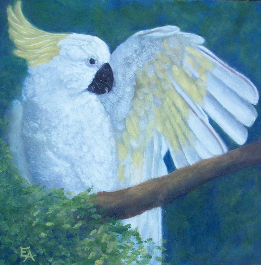 """Angel at Garuda Aviary"" original fine art by Elizabeth Elgin"